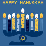 Retro Happy Hanukkah Card [4]. A Happy Hanukkah greeting card with a stylized and retro Hanukkah Menorah (or Hanukiah). Eps file available Stock Photo