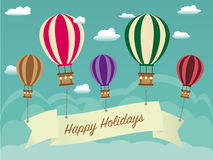 Retro Happy Holiday Background with ribbon on hot air balloon, cloudscape Stock Photography
