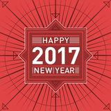 Retro Happy New Year Illustration - Stock Vector Image. Red colored vintage illustration for celebrating 2017. Dynamic, abstract vector design Royalty Free Stock Photo