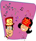 Retro happy new years. Couple in retro style celebrating new years eve with kiss on cheek vector illustration