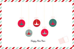 Retro happy new years ornaments pine tree greeting card. Background Royalty Free Stock Photo