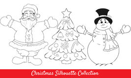 Retro happy santa, snowman, tree shapes. Christmas collection of   happy santa, snowman and christmas tree Royalty Free Stock Photography