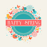 Retro Happy Spring label composition Stock Images
