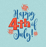 Retro Happy 4th of July typography design Royalty Free Stock Images
