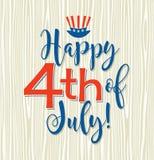 Retro Happy 4th of July typography design Royalty Free Stock Photo