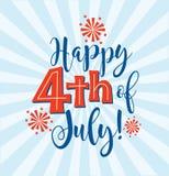 Retro Happy 4th of July typography design Royalty Free Stock Photos