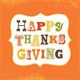 Happy thanksgiving card vintage text frame on orange Stock Photos