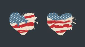 Retro hart van de V.S. Amerika Amerikaanse Vlag Stock Afbeelding