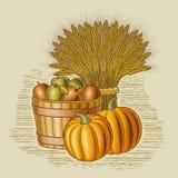 Retro harvest still life vector illustration
