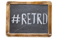 Retro hashtag fr. Retro hashtag handwritten on vintage school slate board isolated on white Royalty Free Stock Photo