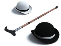 Retro Hat and Cane. On white Stock Photos