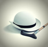 Retro hat and cane. 3d render Royalty Free Stock Image