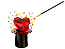 Retro hat with magic wand for love spell Royalty Free Stock Photo