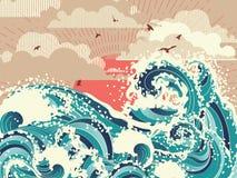 Retro havv?gor stock illustrationer