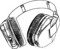 Retro Headphone Sketch Royalty Free Stock Photos