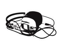 Retro headphones. Vector image of old headphones stock illustration
