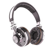 Retro headphones of black leather Stock Photography