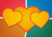 Retro heart banner on colorful halftone background Stock Photo
