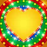 Retro heart banner on colorful shining background Royalty Free Stock Image