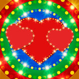 Retro heart banner on colorful shining background Royalty Free Stock Photography