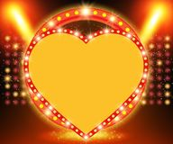 Retro heart banner on stage with spotlight effect background Royalty Free Illustration