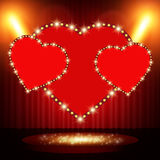 Retro heart banner on stage with spotlight effect background stock illustration