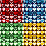Retro Heart Pattern. Four swatches of a seamless retro heart pattern in four different colors. Each pattern color placed on separate layer Stock Photos