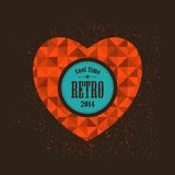 Retro heart with round banner for your message. Royalty Free Stock Photography