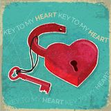 Retro heart shaped padlock and key rustic texture Royalty Free Stock Images