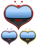 Retro Heart Shaped Television Set Stock Photos
