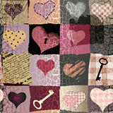 Retro hearts patchwork Royalty Free Stock Photography