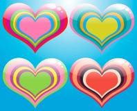Retro Hearts Set. Colorful retro shiny hearts set Stock Images