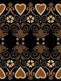 Retro hearts valentines day ornament seamless pattern on black b Royalty Free Stock Photography