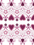 Retro hearts valentines day ornament seamless pattern on white b Royalty Free Stock Images