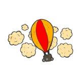 Retro- Heißluftballon der Karikatur Stockfotografie