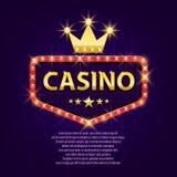 Retro- helles Zeichen des Kasinos mit Goldkrone für Spiel, Plakat, Flieger, Anschlagtafel, Website, Spielclub Fahnenanschlagtafel lizenzfreie abbildung