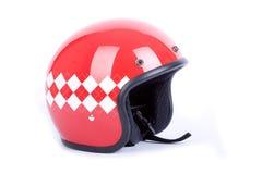 Retro helmet. A red retro retro helmet for motorbike Stock Photography
