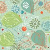 Retro- Herbstmischung nahtloses Muster der Natur Netter Hintergrund mit Blumen stock abbildung