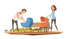Retro het Beeldverhaalaffiche van ouderschapoudoor vector illustratie