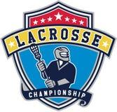 Retro het Lintschild van de lacrossespeler vector illustratie
