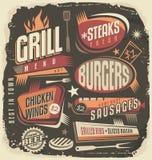 Retro het ontwerpmalplaatje van het grillmenu Royalty-vrije Stock Fotografie