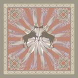 Retro het ornamentpatroon van het paard Stock Afbeeldingen