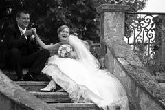Retro het paar van het huwelijk Stock Afbeeldingen