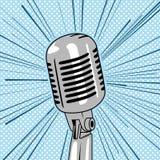 Retro het pop-artvector van de stijlmicrofoon royalty-vrije illustratie