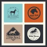 Retro het rennen paard, lopende merrie vectoremblemen stock illustratie