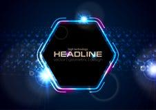 Retro- Hexagon-Zusammenfassungshintergrund des Neons 80s glänzender Stockfotografie