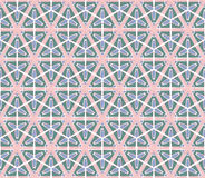 Retro hexagonal green pink flowered pattern Stock Photo