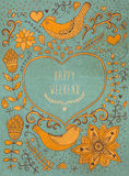 Retro- Hintergrund der Weinlese mit Blumenverzierung und Herz im m Stockfotos