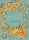 Retro- Hintergrund der Weinlese mit Blumenverzierung und Herz im m Lizenzfreie Stockfotos