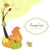 Retro- Hintergrund des Herbstes mit Baum, Kürbise Lizenzfreies Stockfoto